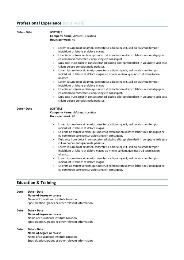 Federal Resume Template