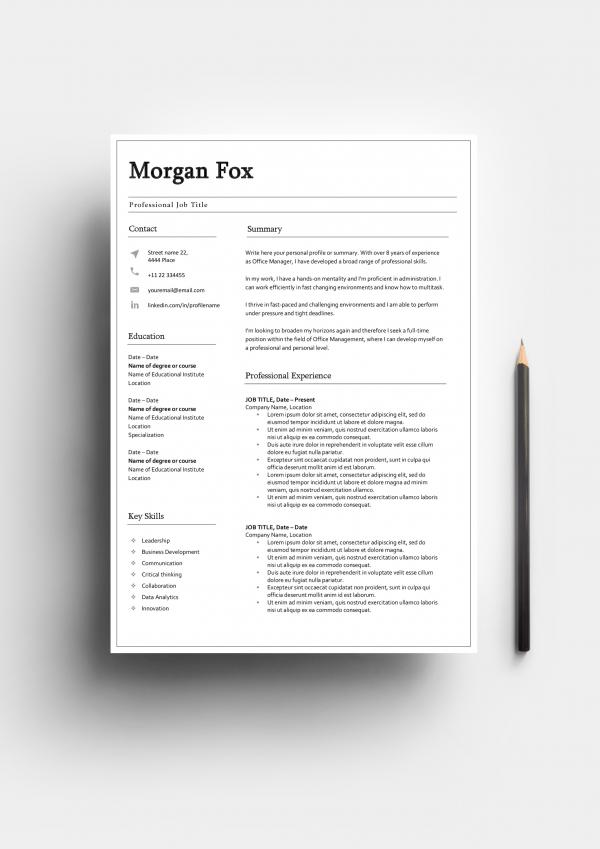 Fundamental resume template